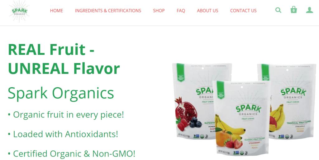 homepage of sparkorganics.com