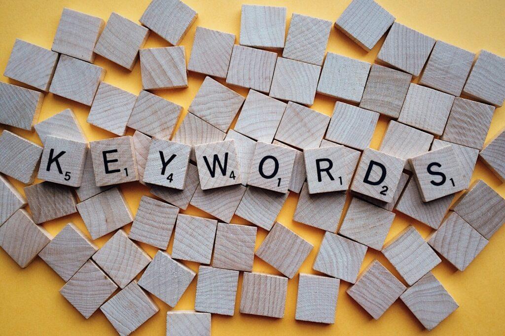 Keywords on scrabble letters