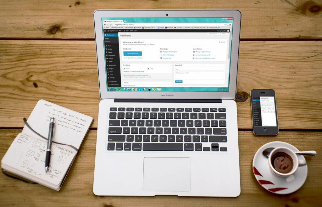 Computer with WordPress open