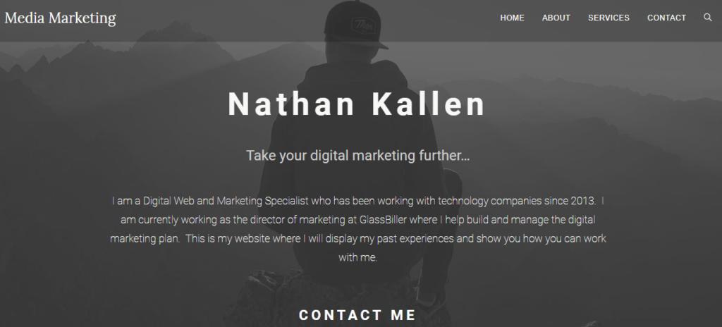 homepage of nathankallen.com
