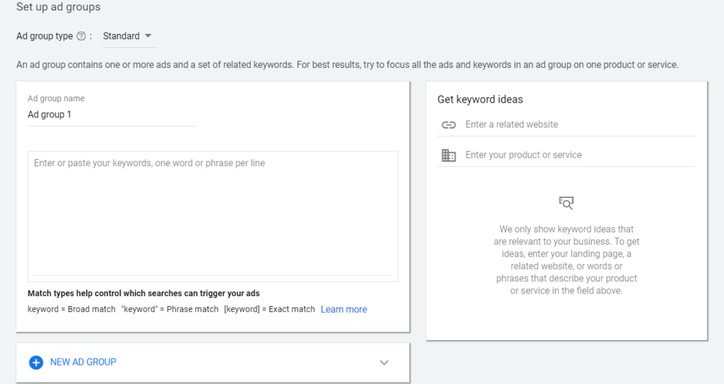 Setting up ad groups