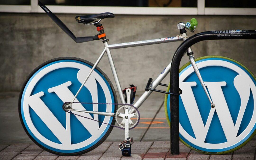 Bike with WordPress logo wheels
