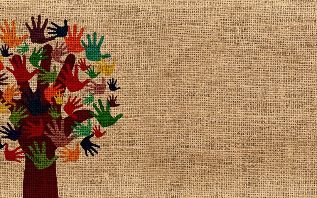 Tree of Hands on a Burlap Background.